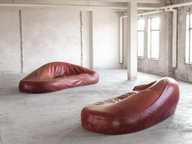 European Exceptional Set of Two Organic Shaped Sofa's in Patinated Leather  For Sale