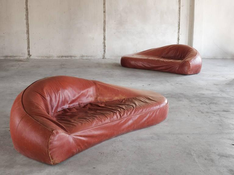 Exceptional Set of Two Organic Shaped Sofa's in Patinated Leather  In Good Condition For Sale In Waalwijk, NL