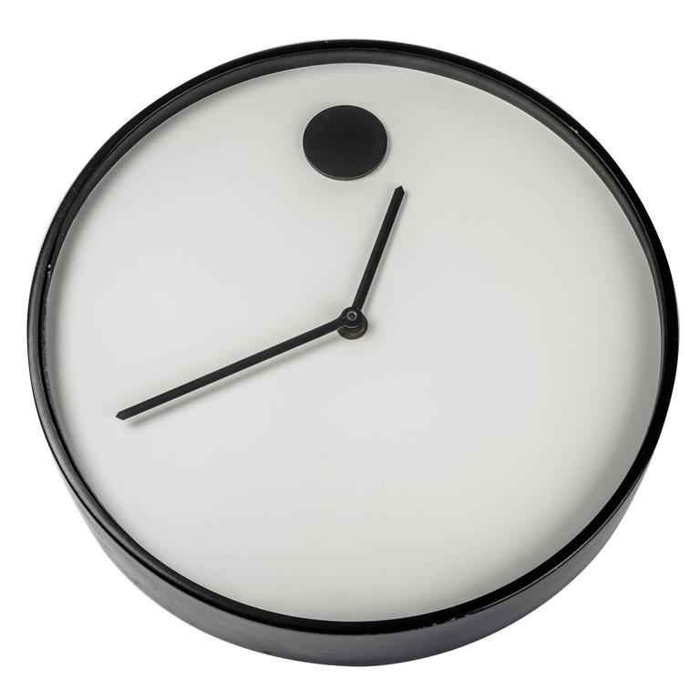 wall clock by george horwitt for howard miller black u0026 white metal and glass
