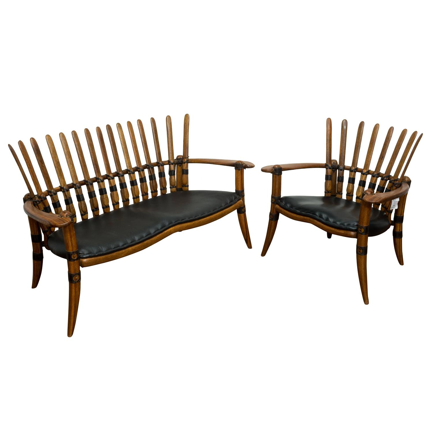 """Extremely Exotic """"Mendi"""" Hand Made Two Seater Sofa and Easy Chair"""