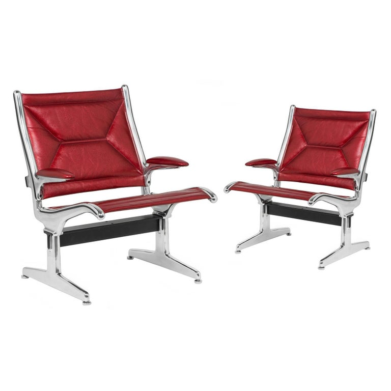 Charles Eames for Herman Miller Tandem Aluminum Lounge Chairs in Edelman Leather For Sale