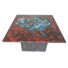 Fontana Arte Vintage 50s Mid-Century Italian Orig Painted Glass & Granite Table