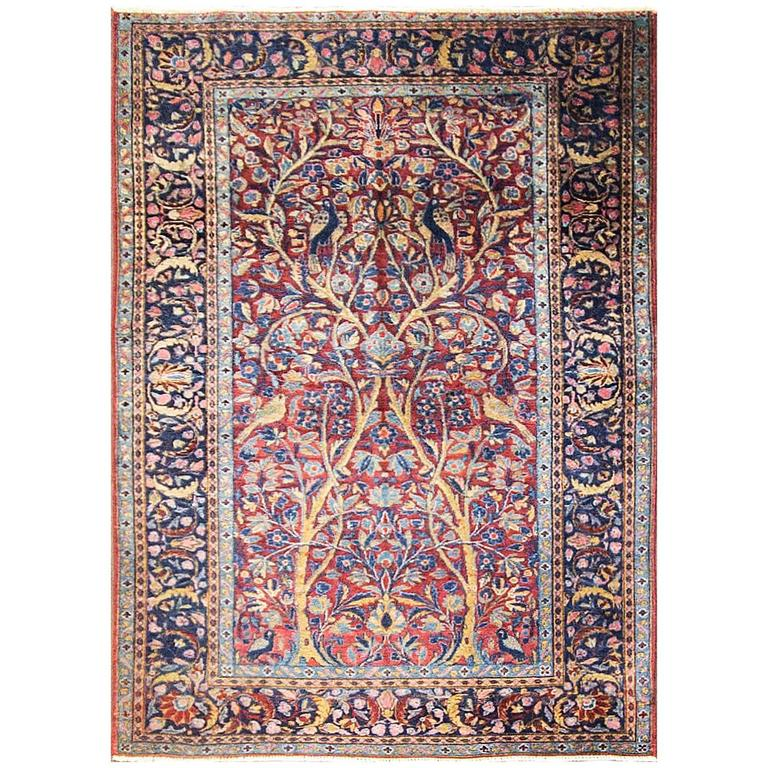 Antique Three Of Life Manchester Kashan Rug 1