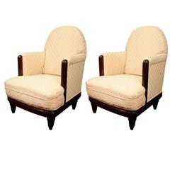 Pair of French Art Deco Club Chairs by Sue et Mare