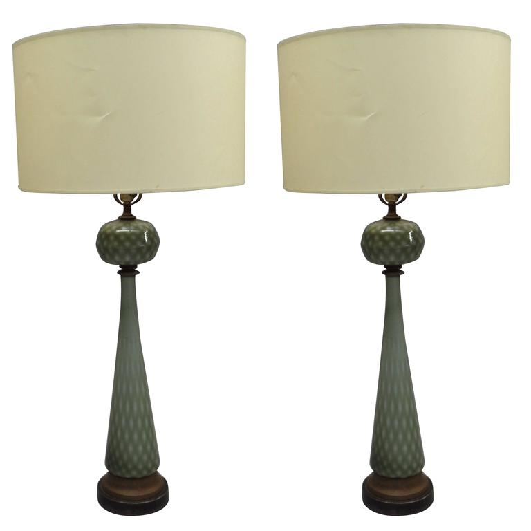 Pair of Large Mid-Century Modern Neoclassical Murano /Venetian Glass Table Lamps