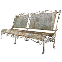 Large French 1900s Iron Garden Bench with Old Patina