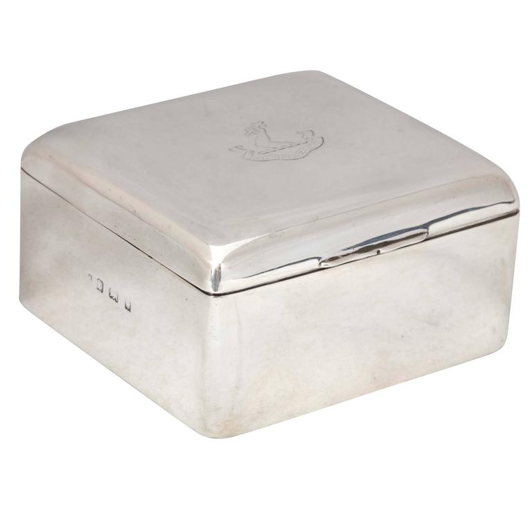 Edwardian Sterling Silver Table Box With Armorial on Hinged Lid