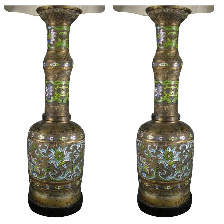 Pair of Large Gilt Bronze and Cloisonne Urn Table Lamps