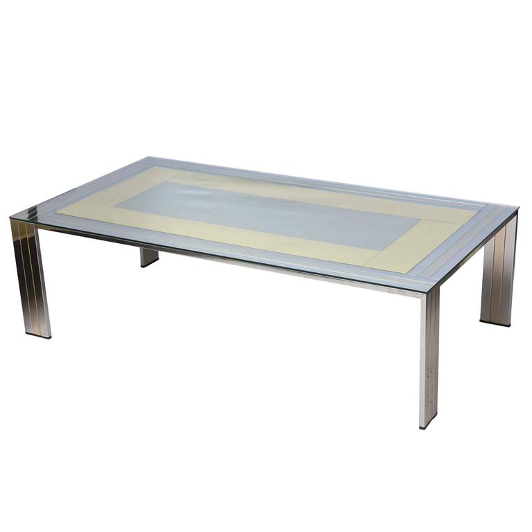 Two tone willy rizzo metal coffee table at 1stdibs for Table willy rizzo