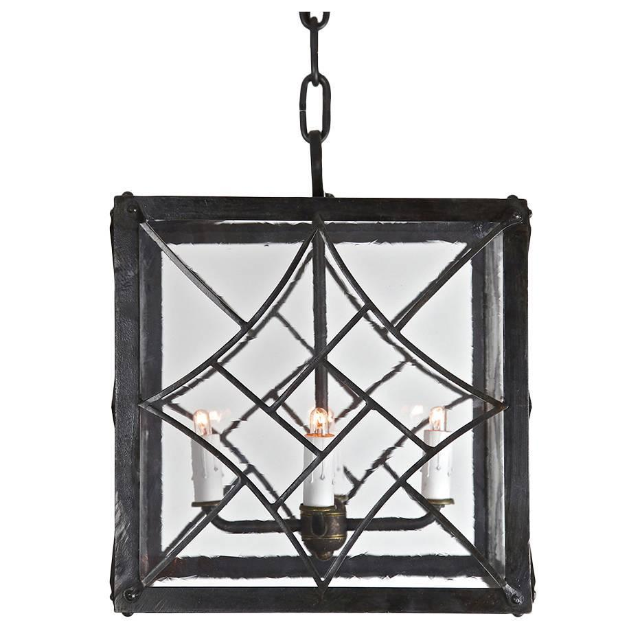 Mid-Century Modern Pendant, Wrought Iron With Antique