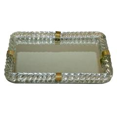 Venini Style Murano Twisted Glass Rope Vanity Tray
