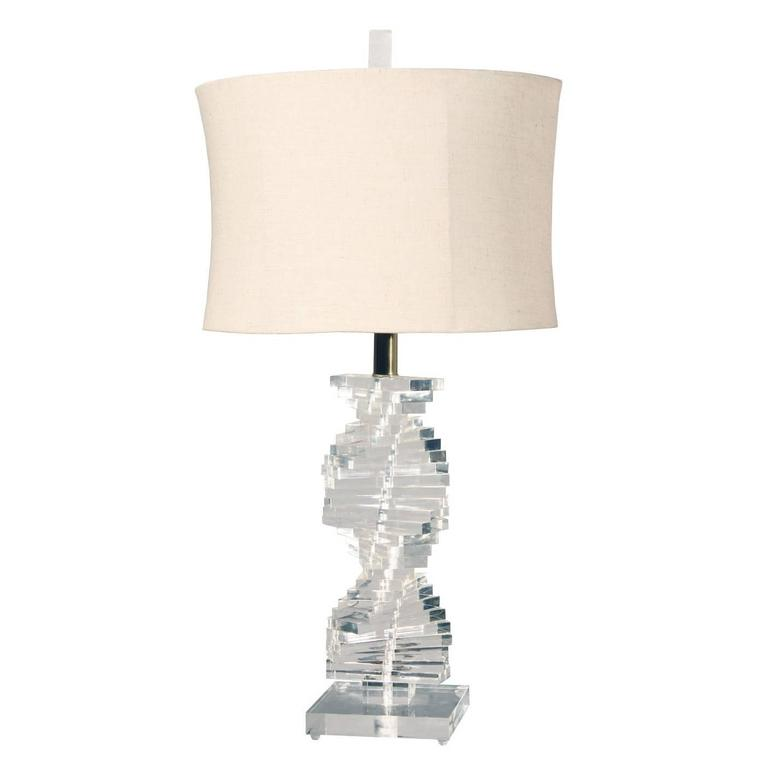 Vintage Helix Spiral Lucite Table Lamp Circa 1970