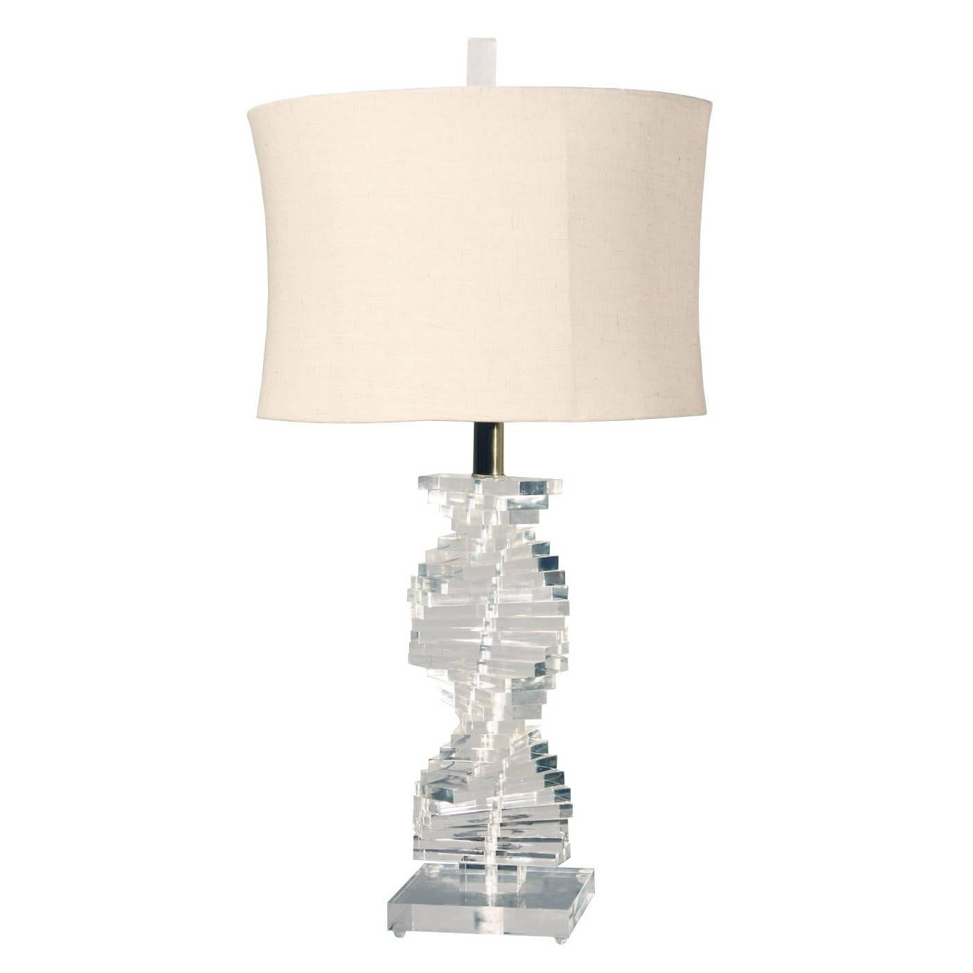 Vintage Helix Spiral Lucite Table Lamp