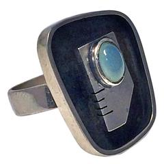 Ed Wiener Sterling Silver Abstract Modernist Face Ring, circa 1950