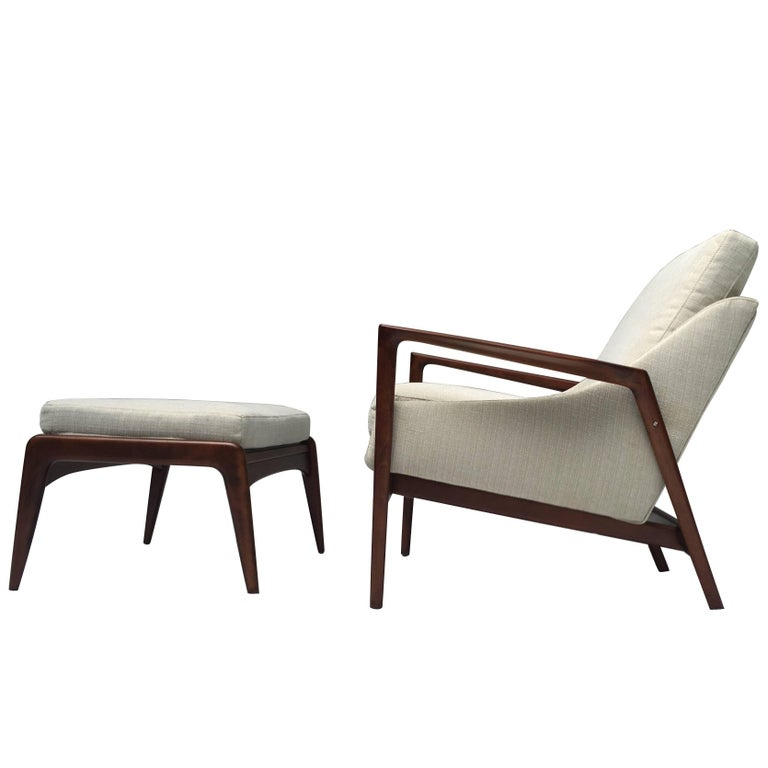Ib Kofod-Larsen Lounge Chair and Ottoman