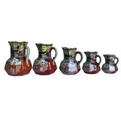 Rare Set of Five Mason's Ironstone Jugs or Pitchers, Red Scale Pattern, ca 1840