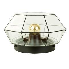 Large Geometric Black & Clear Glass Flush Mount Light by Limburg