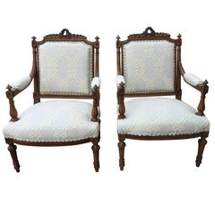 Pair of Beautiful Louis XVI Style Walnut Armchairs
