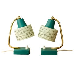 Mathieu Matégot Style Pair of 1950s Perforated Metal Shade Table Lamps / Lights