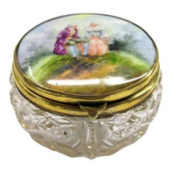 Poudre or Vanity Jar with Porcelain Lid and Hand-Cut Crystal