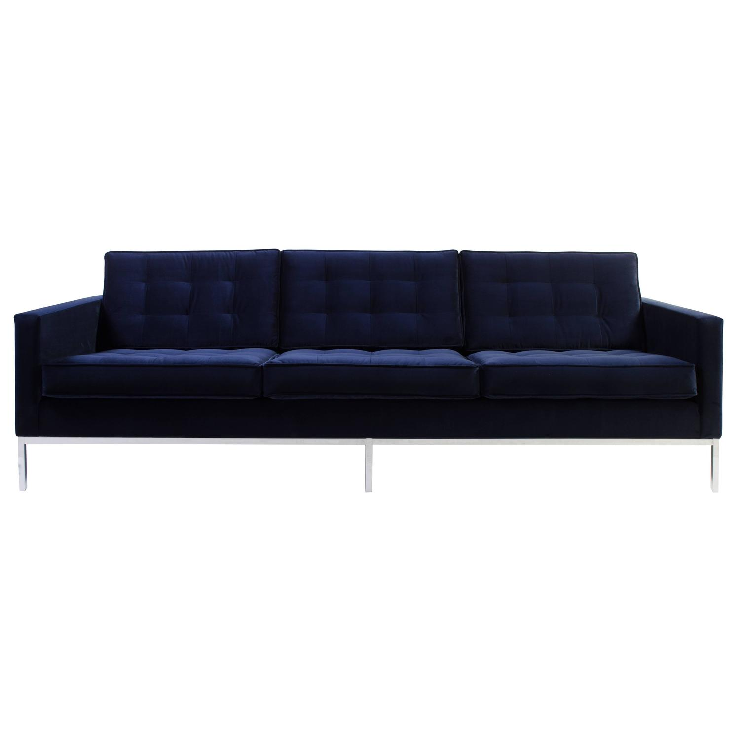 Florence Knoll Sofa in Navy Velvet For Sale at 1stdibs