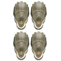 Sabino Signed French Art Deco Set of Four Sconces