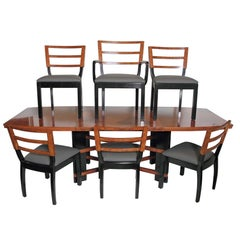 Art Deco Hastings Dining Table / Chairs Double X-Base Teague / Deskey