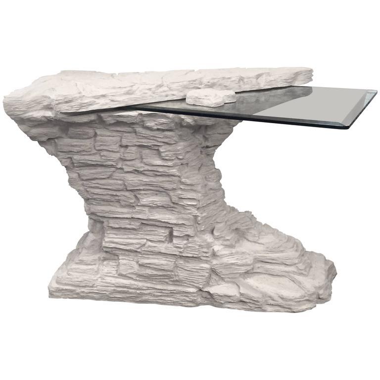 Rare Faux Rock Plaster Console Table For Sale