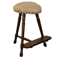 German Early 19th Century Walnut and Upholstered Tall Work Stool