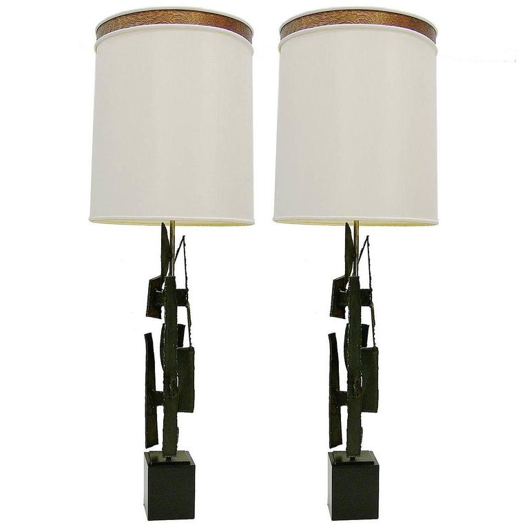Pair of Brutalist Torch Cut Table Lamps by Harry Balmer for Laurel