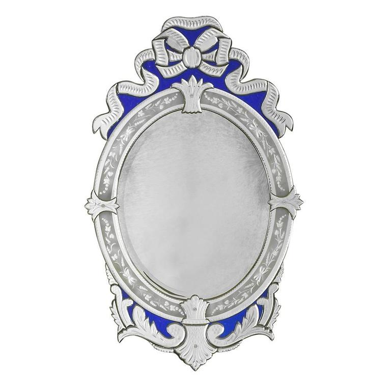 Oval Venetian Blue Ribbon Mirrors 1