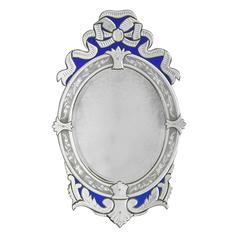 Oval Venetian Blue Ribbon Mirrors