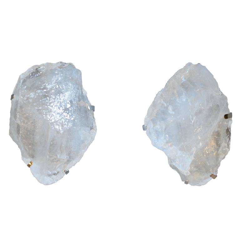 Rock Crystal Wall Sconces : Pair of Natural Rock Crystal Quartz Mounted Wall Sconces For Sale at 1stdibs