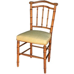 Faux Bamboo Chair with Silk Upholstered Seat