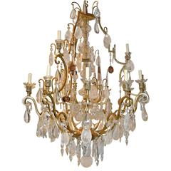 Large Neoclassic Rock Crystal Chandelier