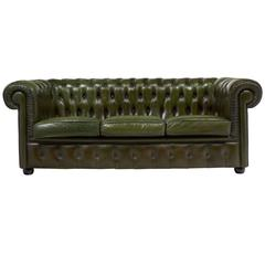 English Vintage Green or Bronze Chesterfield Sofa