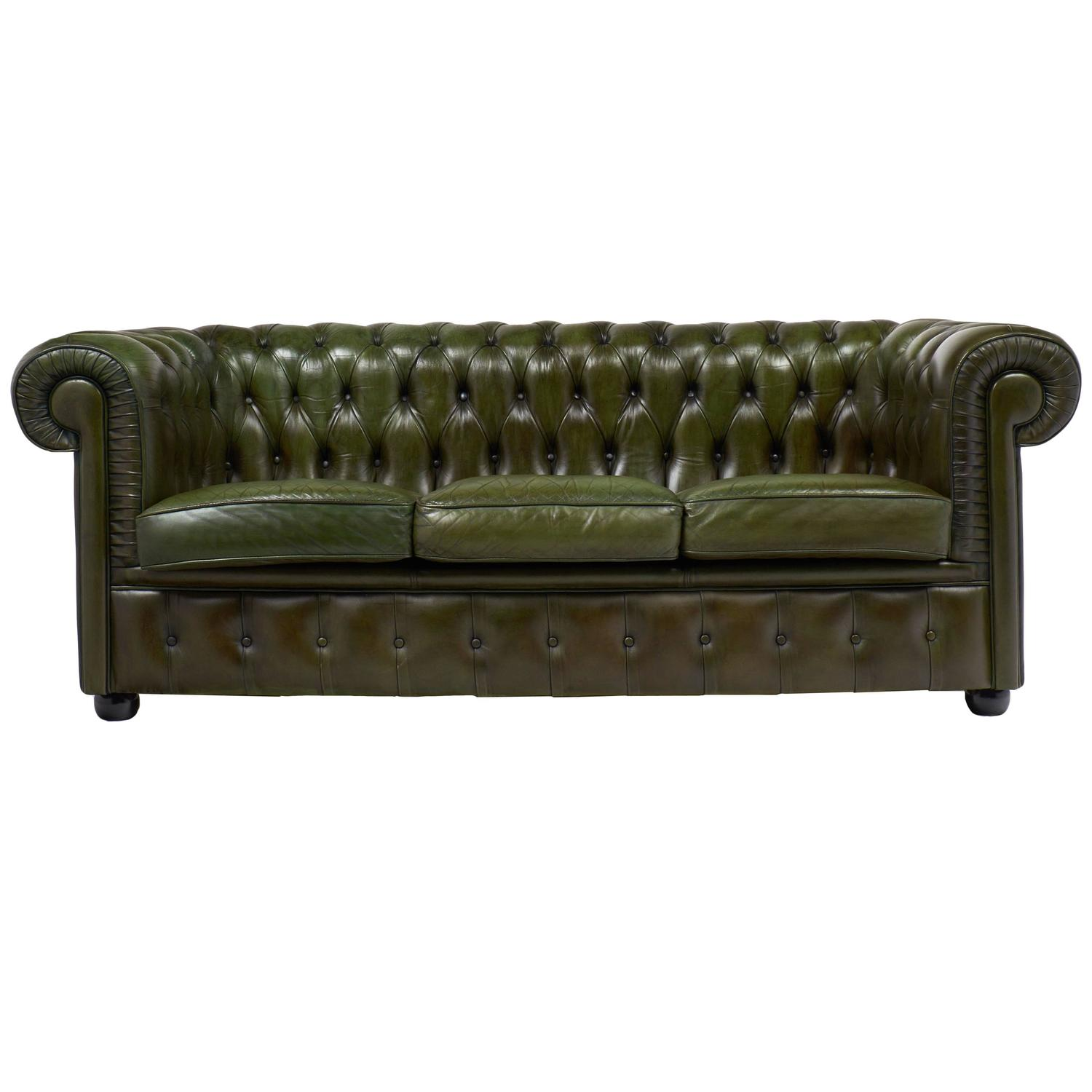 English Vintage Green Or Bronze Chesterfield Sofa At 1stdibs