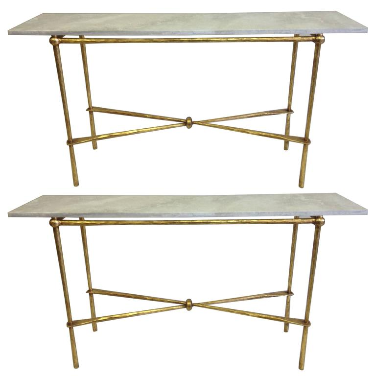 2 Italian Modern Neoclassical Gilt Iron Consoles By Giovanni Banci, 1970