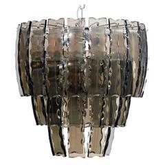 Italian Smoky Etched Glass Chandelier