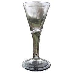 George II Rare Hollow Stem English Wine Drinking Glass, Circa 1750