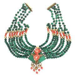 Stunning Eight Strand Malachite, Carved Coral, 14-Karat Gold Collar Necklace