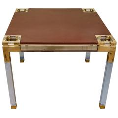 Lucite and Brass Leather Topped Game Table