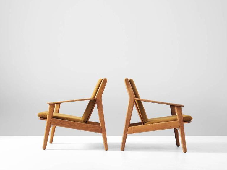Poul M Volther Pair Of Armchairs In Solid Oak For Sale At