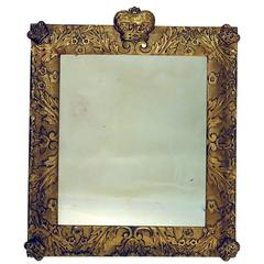 "19th Century Northern European Mirror with Crowns , 49"" x 42.5"""