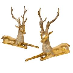 Pair of Seated 1970s Brass Deer with Fanciful Decoration by Sarreid Ltd.