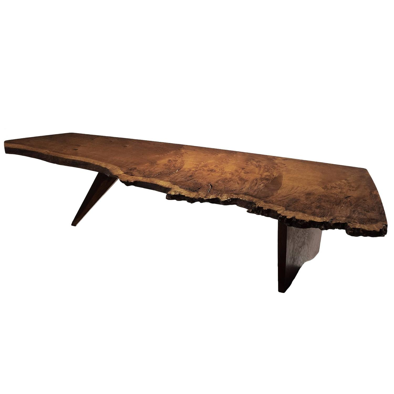 George nakashima slab coffee table in oak burlwood for for Oak slab coffee table