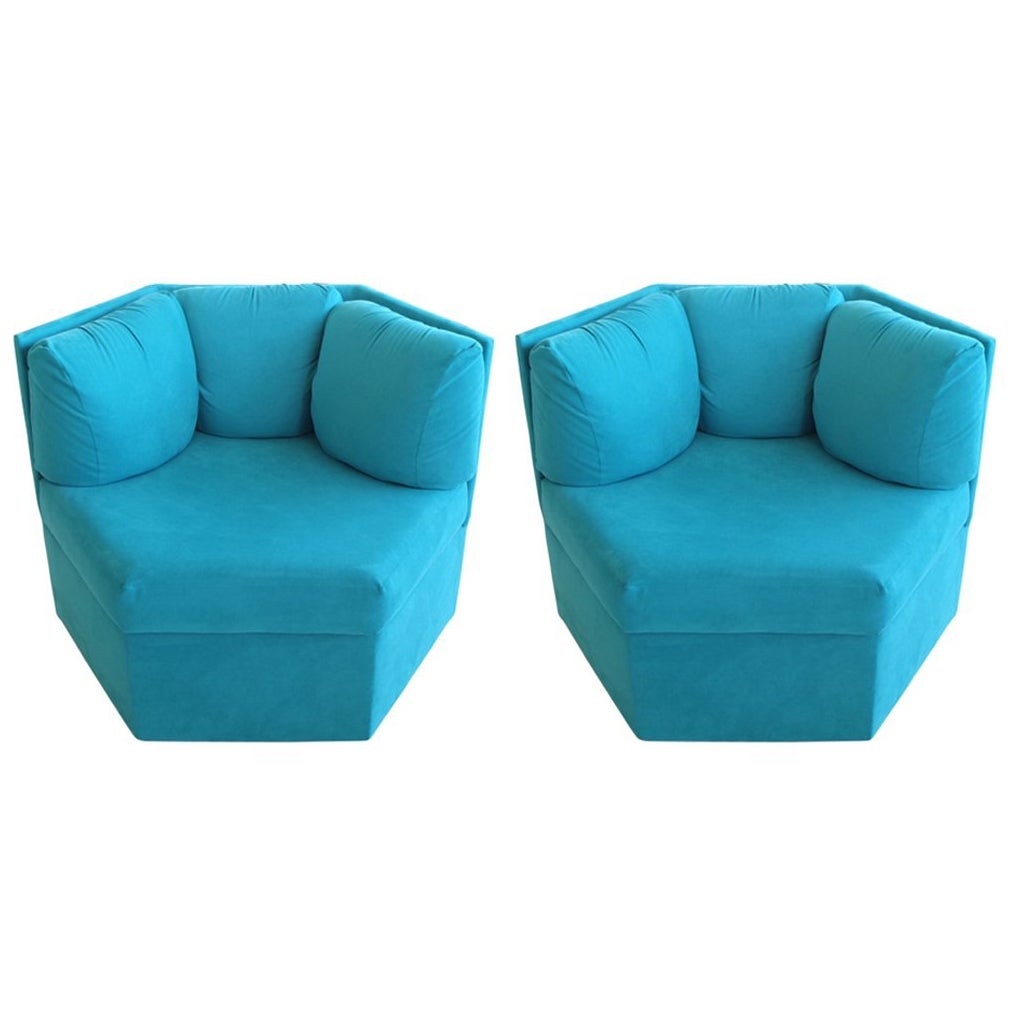 Pair Hexagonal Swivel Chairs by Milo Baughman for Thayer Coggin