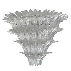 Italian Clear Murano Glass Palm Leaves Chandeliers