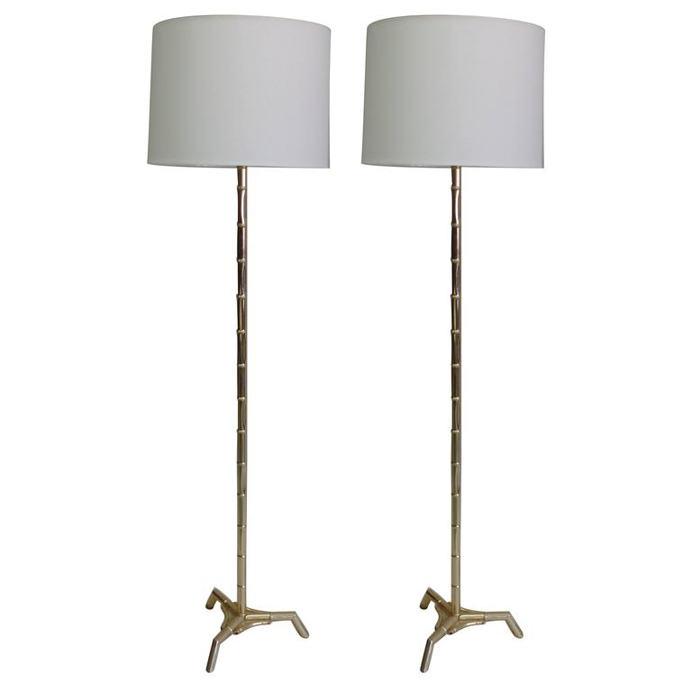 Pair Large French Mid-Century Brass Faux Bamboo Floor Lamps by Maison Bagues
