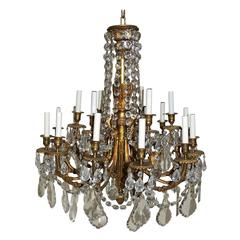 Beautiful French Empire Doré Bronze & Draped Crystal Eighteen-Light Chandelier